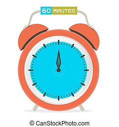 60 - Sixty Minutes Stop Watch - Alarm Clock Vector Illustration