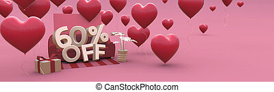 60 Sixty percent off - Valentines Day Sale horizontal 3D-banner with copy space.
