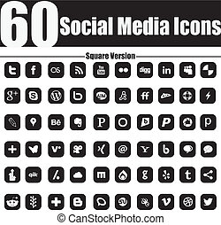 60, social, média, icônes, carrée, versio