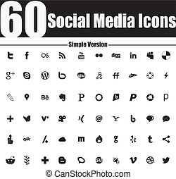 60 Social Media Icons Simple Versio - EDITORIAL USE ONLY...