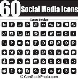 60, social, medios, iconos, cuadrado, versio
