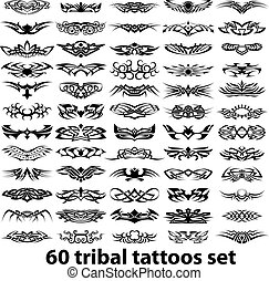 60, tatuajes, tribal, conjunto, vector
