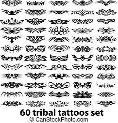 60 tribal tattoos set vector illustration