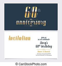 60, vecteur, années, anniversaire, invitation