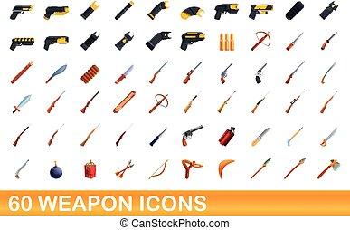 60 weapon icons set, cartoon style