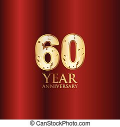 60 Year Anniversary Gold With Red Background Vector Template Design Illustration