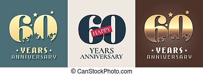 60 years anniversary set of vector icon, symbol, logo