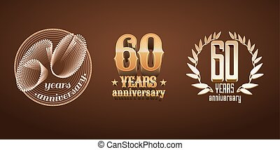 60 years anniversary set of vector logo, icon, number