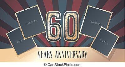 60 years anniversary vector icon, logo. Template design...