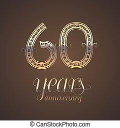 60 years anniversary vector icon, symbol. Graphic design...