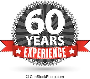 60 years experience retro label with red ribbon, vector illustration