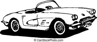 Hand drawn 1960' era corvette, pen and ink vector