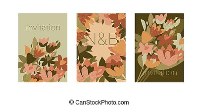 60s green and cantaloupe orange flowers poster