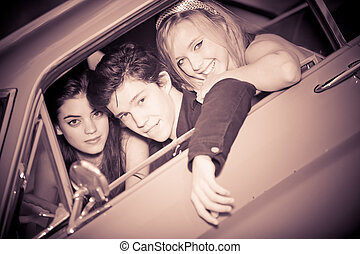 60s look image of people in car