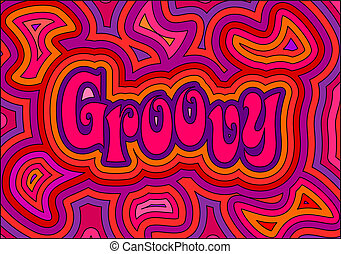 Groovy - 60s retro psychedelic design with offset swirls...