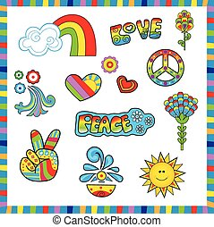 Groovy colorful sixties style icons with peace and love signs. Eps10