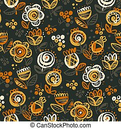 60s vibes orange on black floral seamless pattern