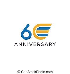 60th, aile, logo, anniversaire, vecteur