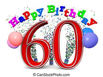 60th, aniversário, feliz