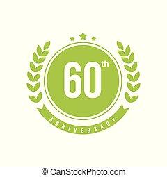 60th, anniversaire, illustration, vecteur, conception, gabarit
