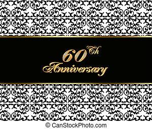 60th anniversary invitation card - Illustration, black and...