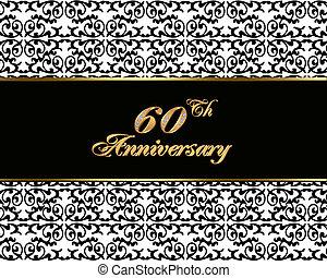 60th anniversary invitation card - Illustration, black and...