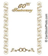 60th, frontière, anniversaire, invitation