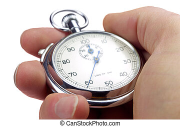 60th of a minute. - Close up of a hand holding a stopwatch ...