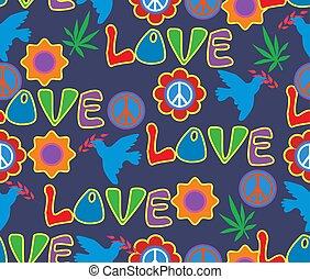 60x., móda, znak, pattern., seamless, list, květiny, konopí, hippie, pacifism., grafické pozadí, psychedelic