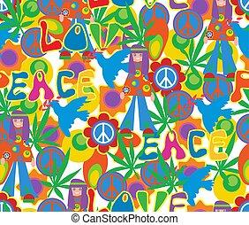 60x., stile, simbolo, pattern., seamless, foglie, fiori, canapa, hippie, pacifism., fondo, psichedelico