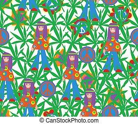 60x., style, symbole, pattern., seamless, feuilles, fleurs, cannabis, hippie, pacifism., fond, psychédélique
