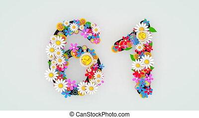 """61."""", цветочный, анимация, """"numerical, разряд"""