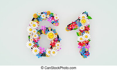 """61."""", floral, animation, """"numerical, chiffre"""