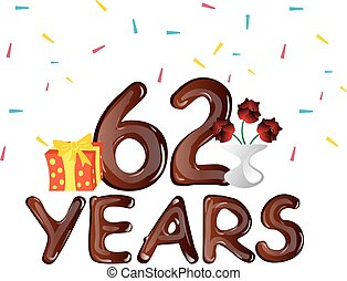 62, anos, cartão aniversário, celebração