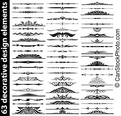 63 decorative design elements set - 63 decorative ornate...