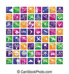 64 multicolored hotel icons - pink, blue, green, orange, ...