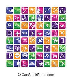 64 multicolored hotel icons - pink,blue,green,orange,violet...