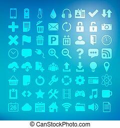 64 Universal Flat Vector Icon Set for web desighers, ui,...