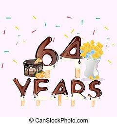 64 Years Happy Birthday card