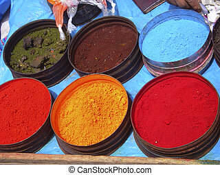 Nature coloring dyes in Cuzco Peru