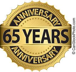 65, anni, anniversario, dorato, etichetta
