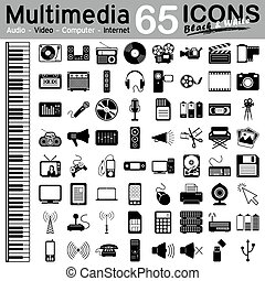 65 Multimedia Icons - Audio, Video, Computer and Internet -...