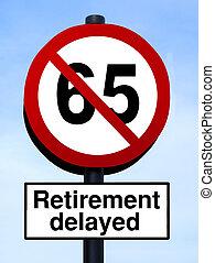 65, pensioen, waarschuwend, roadsign