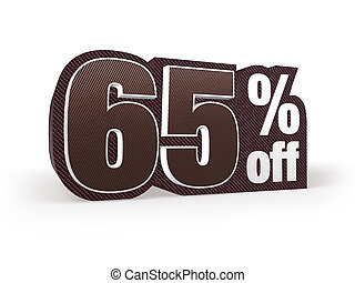 65 percent off brown suit styled discount price sign