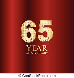65 Year Anniversary Gold With Red Background Vector Template Design Illustration