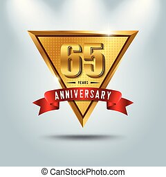 65 years anniversary celebration logotype. Golden anniversary emblem with red ribbon. Design for booklet, leaflet, magazine, brochure, poster, web, invitation or greeting card.
