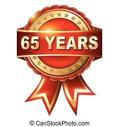65 years anniversary golden label with ribbon