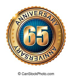 65 years anniversary golden label.