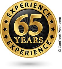 65 years experience gold label, vector illustration