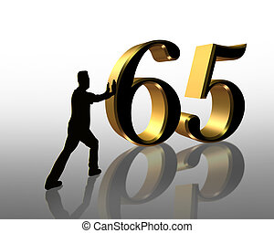 65th, aniversário, 3d, convite